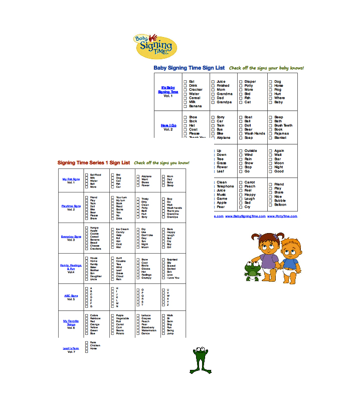 Baby Signing Time & Signing Time Progress Charts